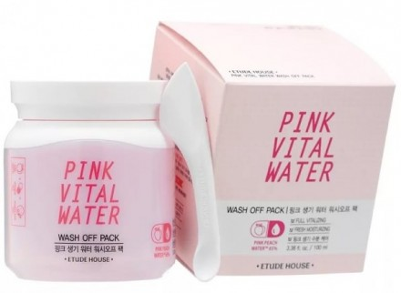 Маска для лица с экстрактом персика ETUDE HOUSE Pink Vital Water Wash Off Pack: фото