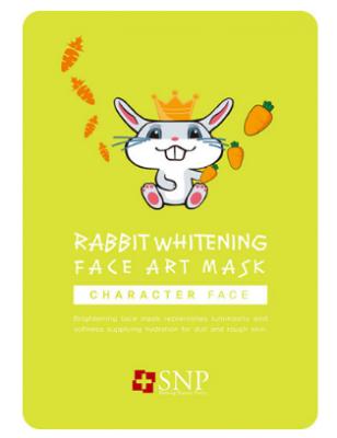 Маска для лица осветляющая SNP Rabbit whitening face art mask 25 мл: фото