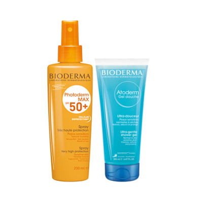Набор Bioderma Photoderm: Фотодерм Mах Спрей SPF50 200 мл + Атодерм Гель для душа 100 мл: фото