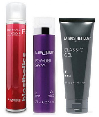 Набор в тубе La Biosthetique Beauty Box Вторник: Formule Laque ultra Strong 75 мл, Powder Spray 75 мл, Classic Gel 75 мл: фото
