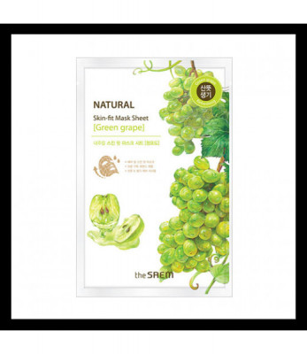 Маска тканевая виноград THE SAEM Natural Skin Fit Mask Sheet [green grape] 20ml: фото