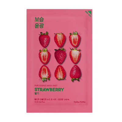Маска тканевая освежающая Holika Holika PURE ESSENCE Pure Essence Mask Sheet Strawberry, клубника 20 мл: фото