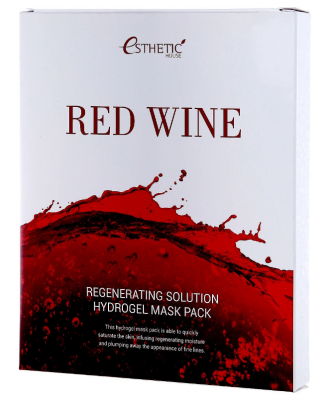Маска для лица гидрогелевая с экстрактом красного вина ESTHETIC HOUSE RED WINE REGENERATING SOLUTION HYDROGEL MASK PACK 28мл*5шт: фото