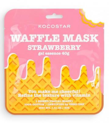 Маска вафельная тонизирующая с экстрактом клубники Kocostar Waffle Mask Strawberry 40г: фото