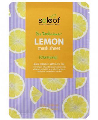 Маска тканевая тонизирующая с лимоном Soleaf So Delicious Lemon Mask Sheet 25 мл: фото