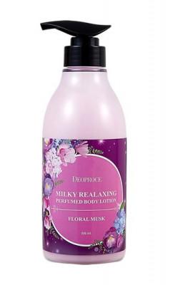Лосьон для тела на цветочных экстрактах DEOPROCE MILKY RELAXING BODY LOTION FLORAL MUSK 500мл: фото