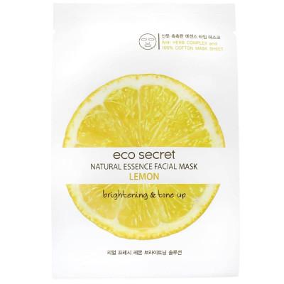 Тканевая маска для лица с лимоном Eco Secret Natural Essence Fasial Mask Lemon 20 мл: фото